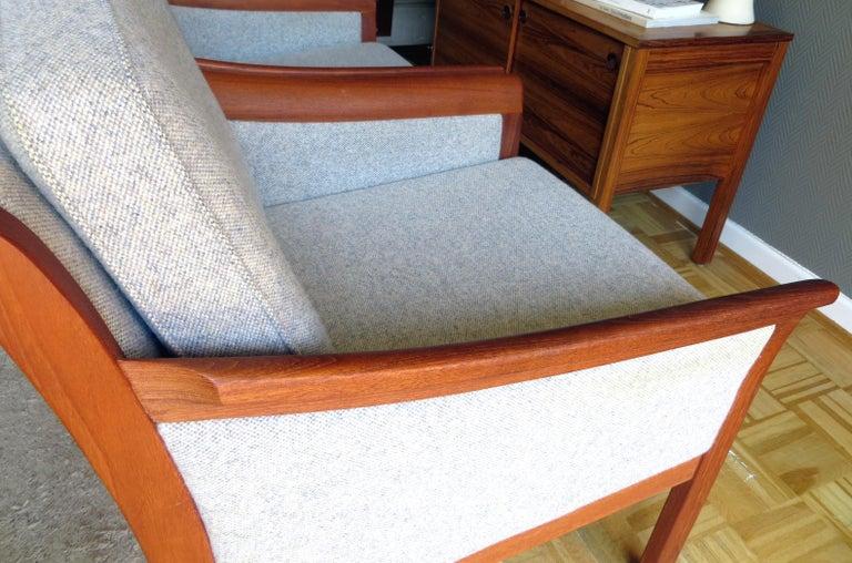 Danish Mid-Century Modern Solid Teak & Wool Easy Chairs Set in Grey-Beige, 1960s For Sale 4