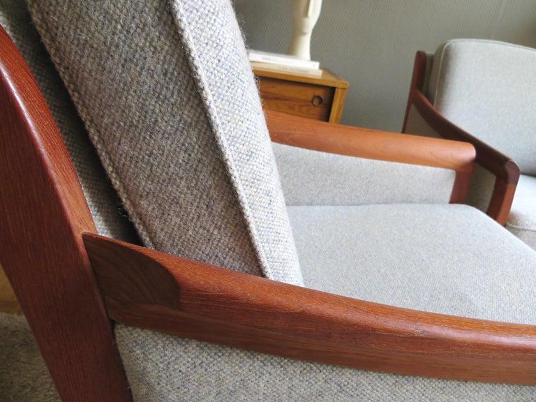 Danish Mid-Century Modern Solid Teak & Wool Easy Chairs Set in Grey-Beige, 1960s For Sale 5