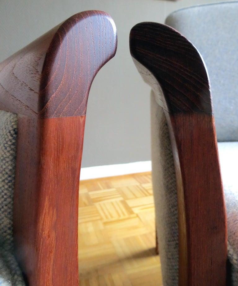Danish Mid-Century Modern Solid Teak & Wool Easy Chairs Set in Grey-Beige, 1960s For Sale 6