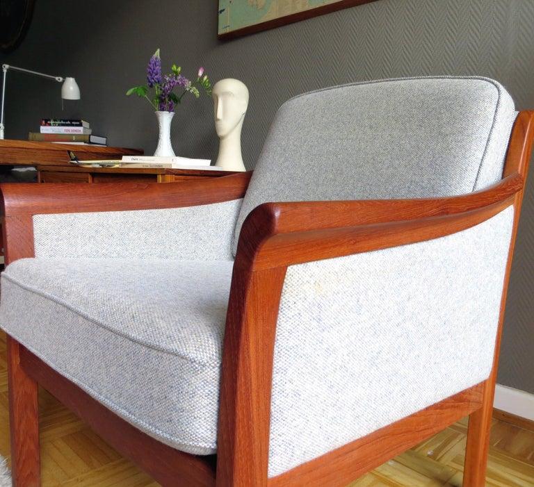 Danish Mid-Century Modern Solid Teak & Wool Easy Chairs Set in Grey-Beige, 1960s For Sale 7