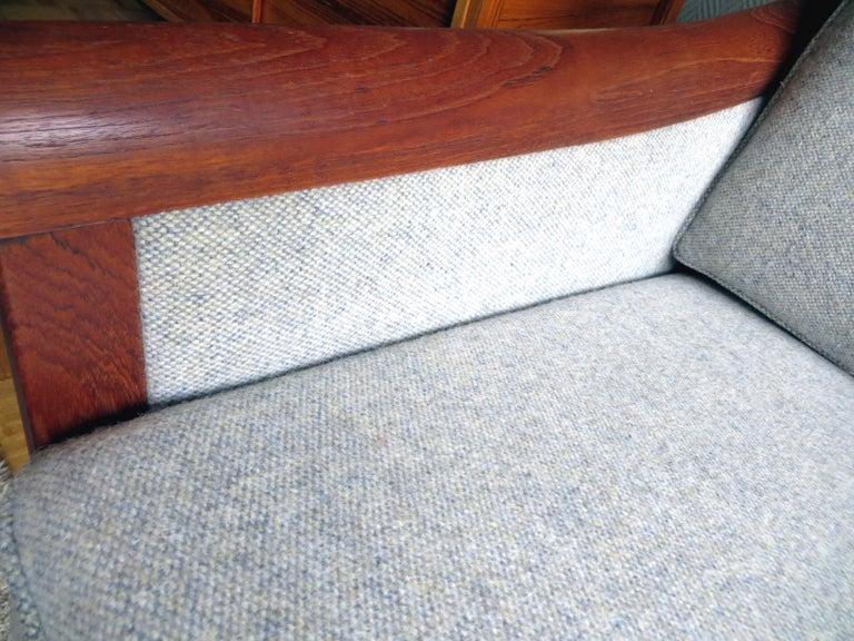 Danish Mid-Century Modern Solid Teak & Wool Easy Chairs Set in Grey-Beige, 1960s For Sale 8