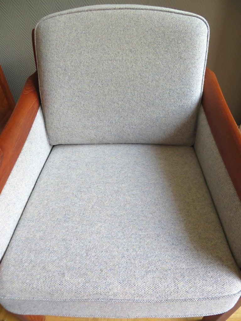 Danish Mid-Century Modern Solid Teak & Wool Easy Chairs Set in Grey-Beige, 1960s For Sale 9