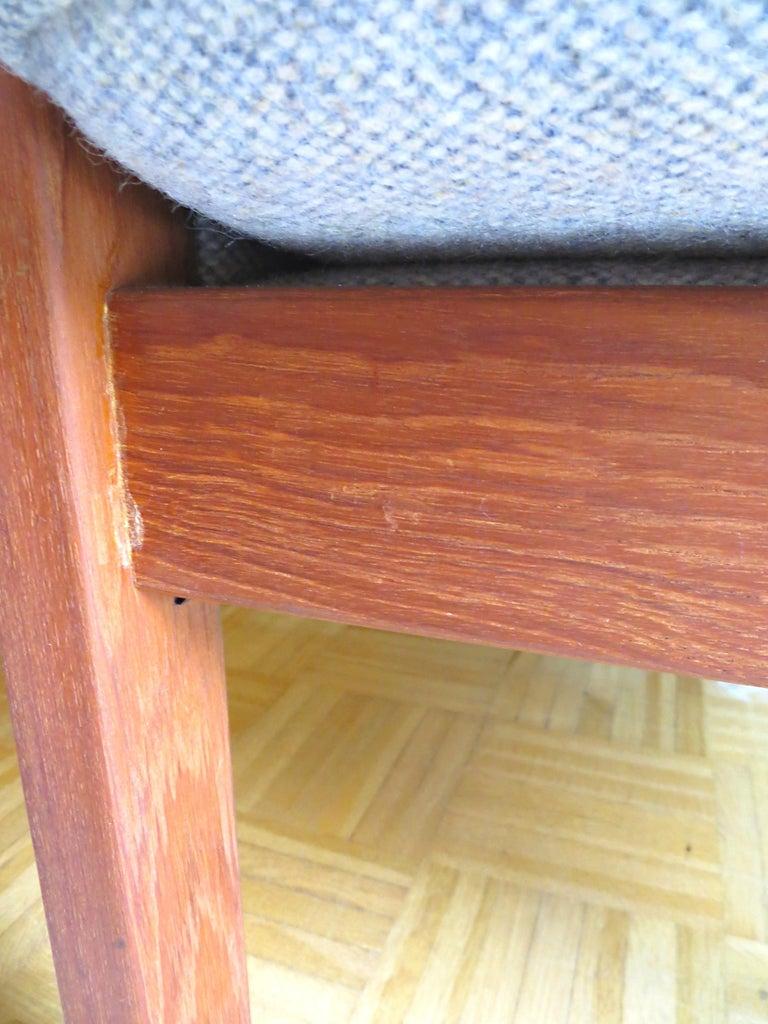 Danish Mid-Century Modern Solid Teak & Wool Easy Chairs Set in Grey-Beige, 1960s For Sale 13