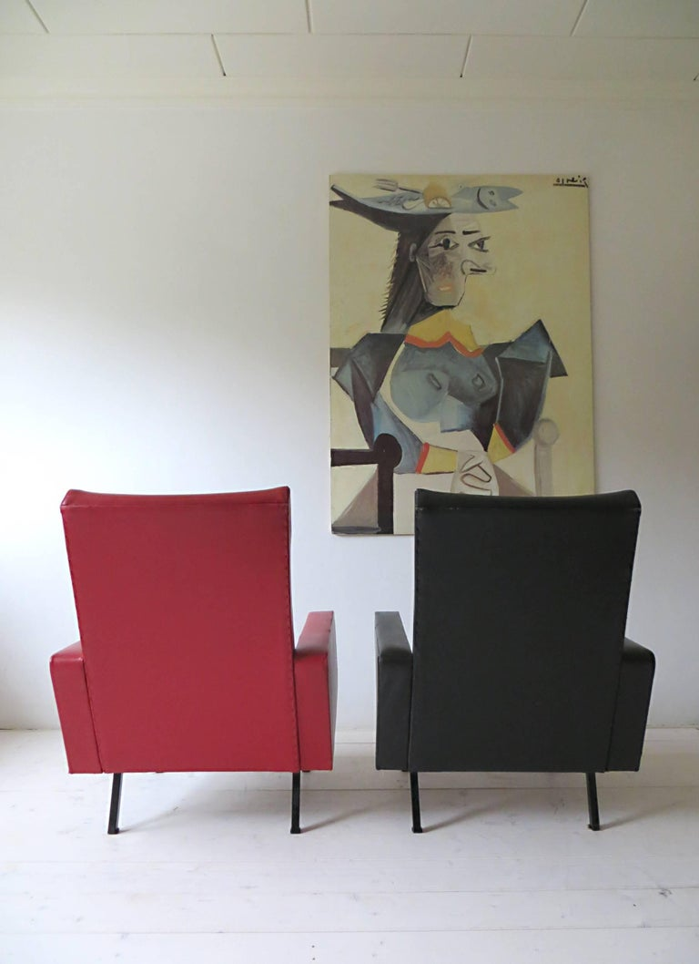 Blackened Pair of 1950s French Vintage Armchairs Lounge Chairs Style of Pierre Guariche For Sale