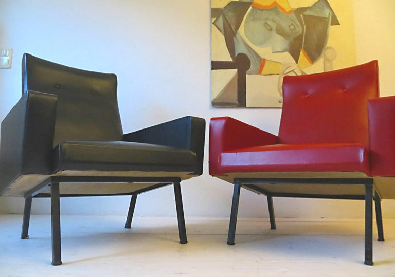 20th Century Pair of 1950s French Vintage Armchairs Lounge Chairs Style of Pierre Guariche For Sale