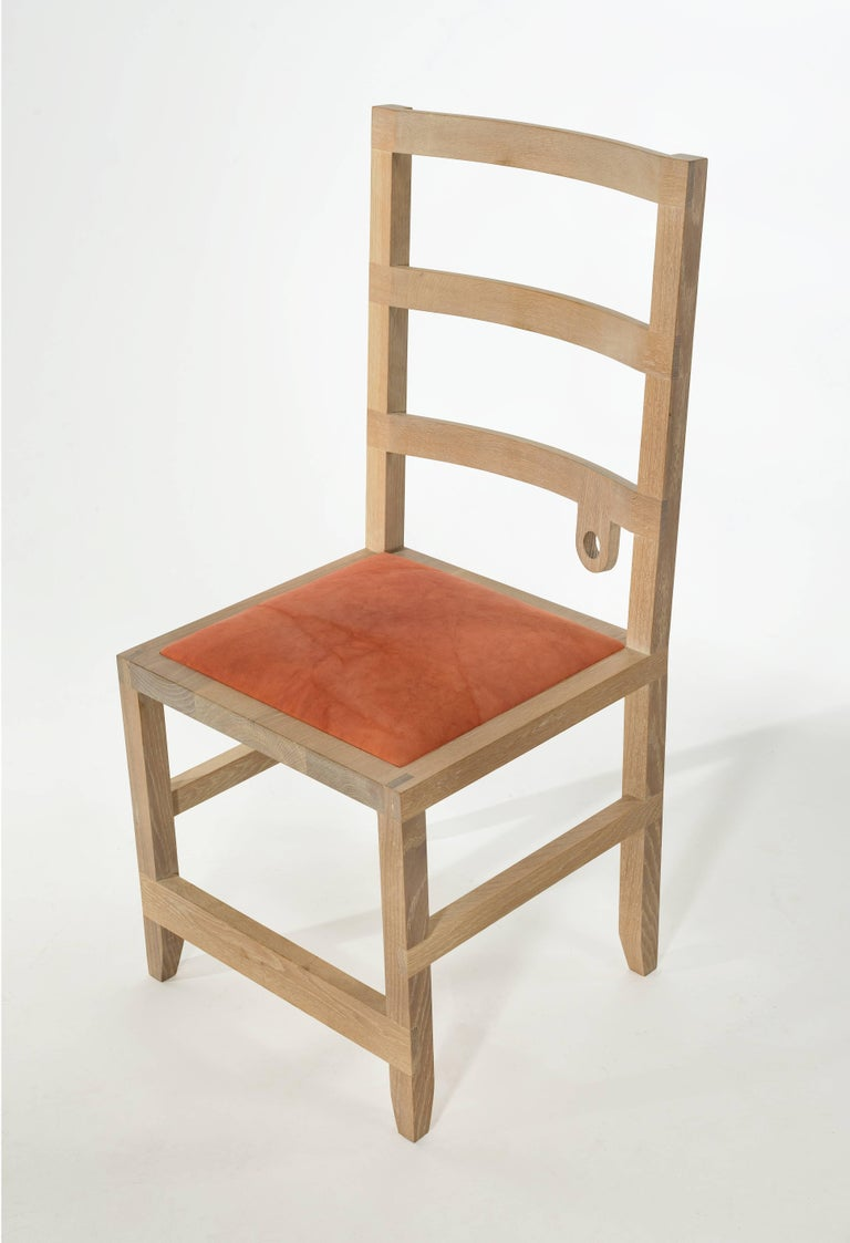 Shaker Monolith Ladderback Chair by Phaedo, White, Washed Oak For Sale