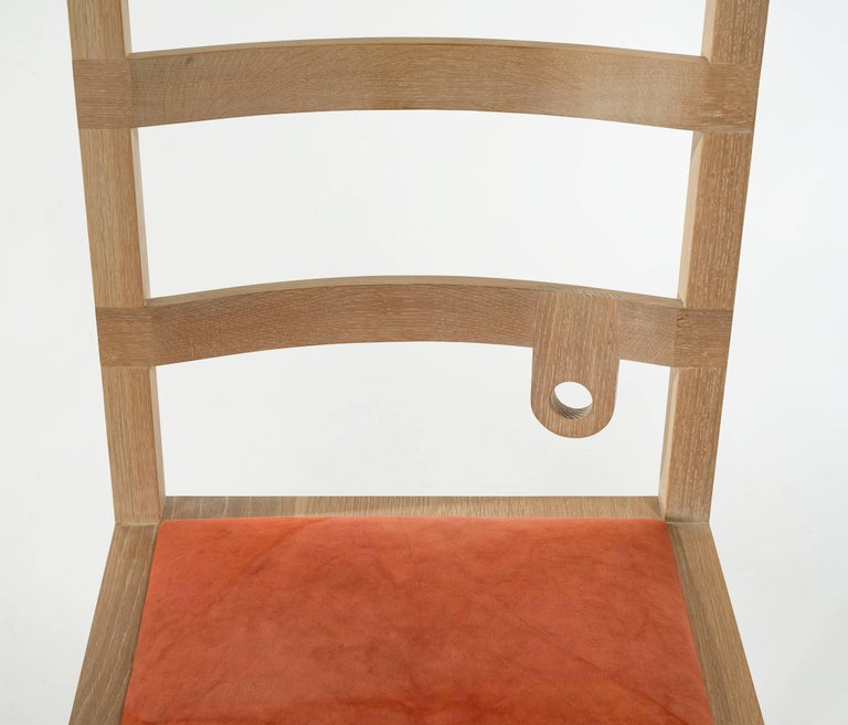 American Monolith Ladderback Chair by Phaedo, White, Washed Oak For Sale