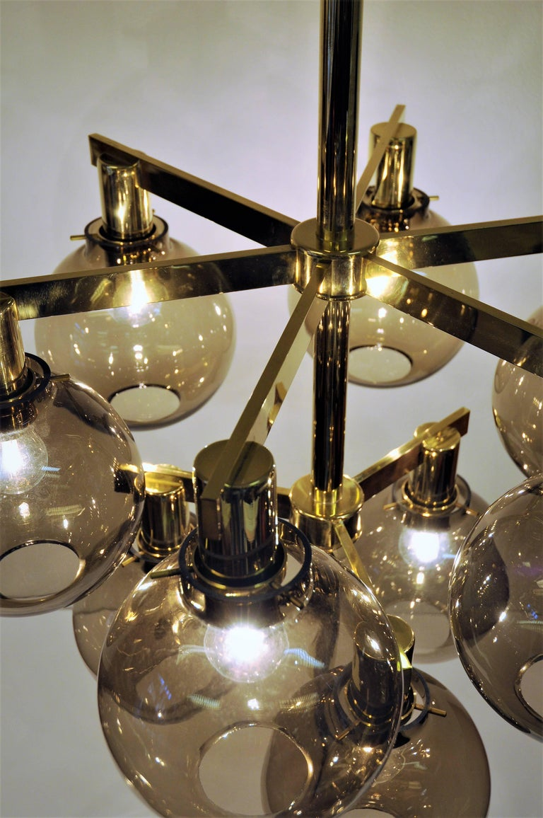 Glass and brass Chandelier Pastoral T348/9 1960`s, Hans-Agne Jakobsson- Sweden For Sale 3