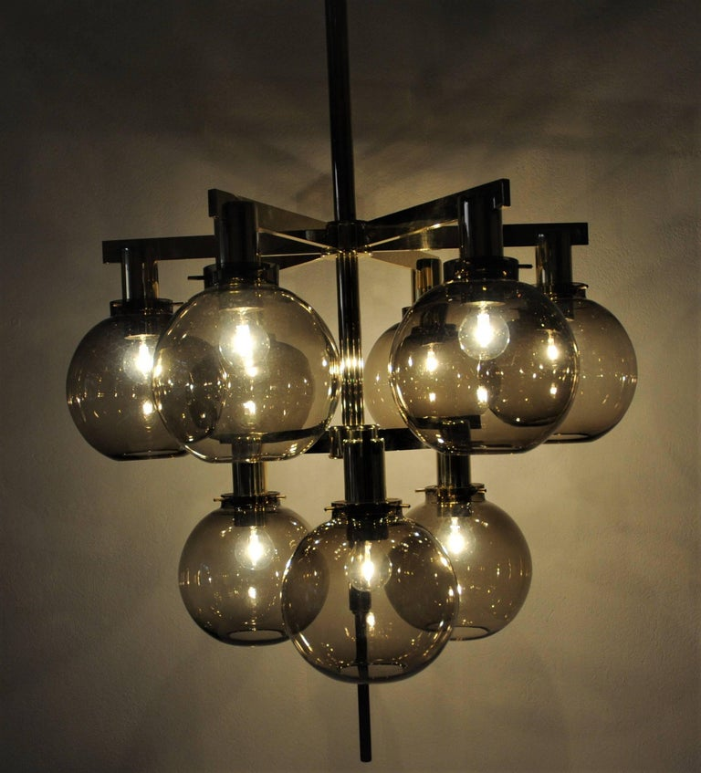 Glass and brass Chandelier Pastoral T348/9 1960`s, Hans-Agne Jakobsson- Sweden In Good Condition For Sale In Enskede, SE