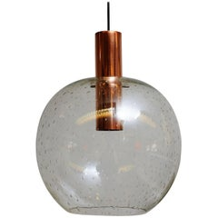 Beautiful Vintage Glass Dome Pendant on a Copper Cylinder