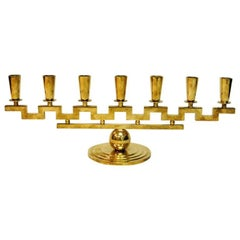 Candlestick with Seven Arms of Brass 1950s, Lars Holmström, Sweden
