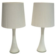 White Glass Table Lamp Pair by Berndt Nordstedt for Bergboms, Sweden, 1960s