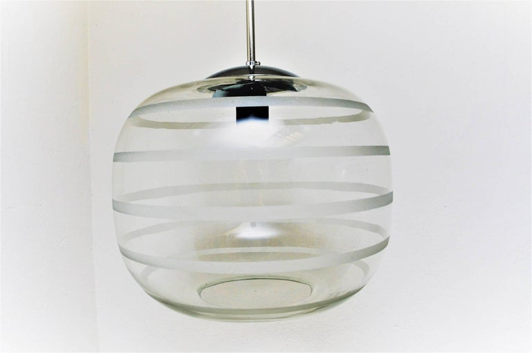 Other Swedish Ceiling Schoollamp with Glassshade of Frosted Stripes, 1920s For Sale