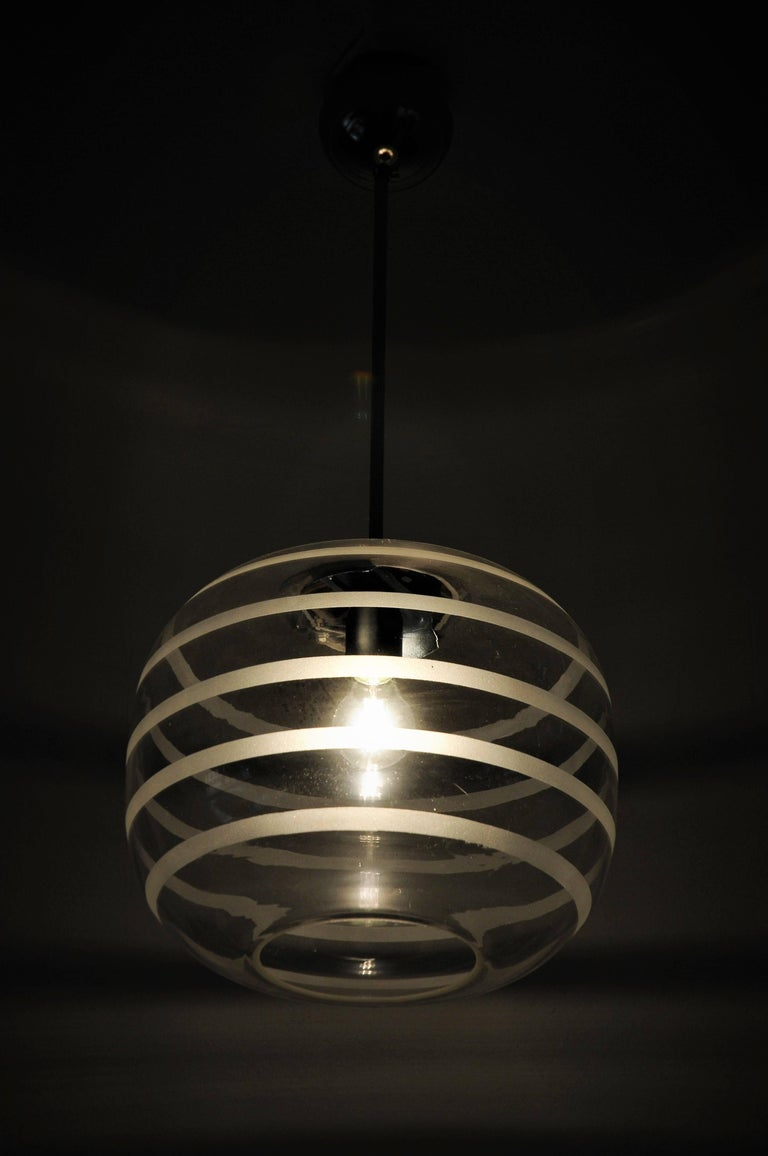 Early 20th Century Swedish Ceiling Schoollamp with Glassshade of Frosted Stripes, 1920s For Sale