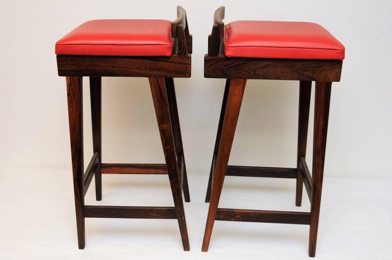 Danish Rosewood Barstools by Erik Buch for Dyrlund, Set of Three 2