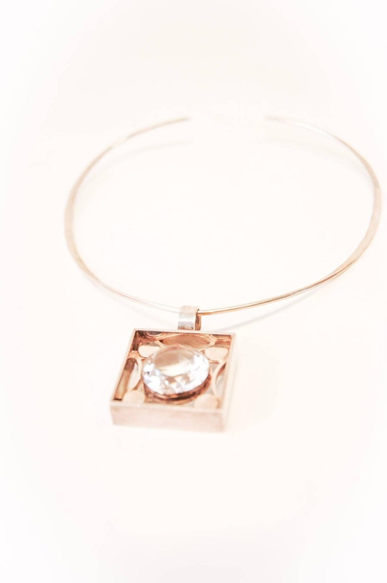 Scandinavian Modern Silver Jewelry with Brilliant Cut Rock Crystal from 1973 by Salovaara, Finland For Sale