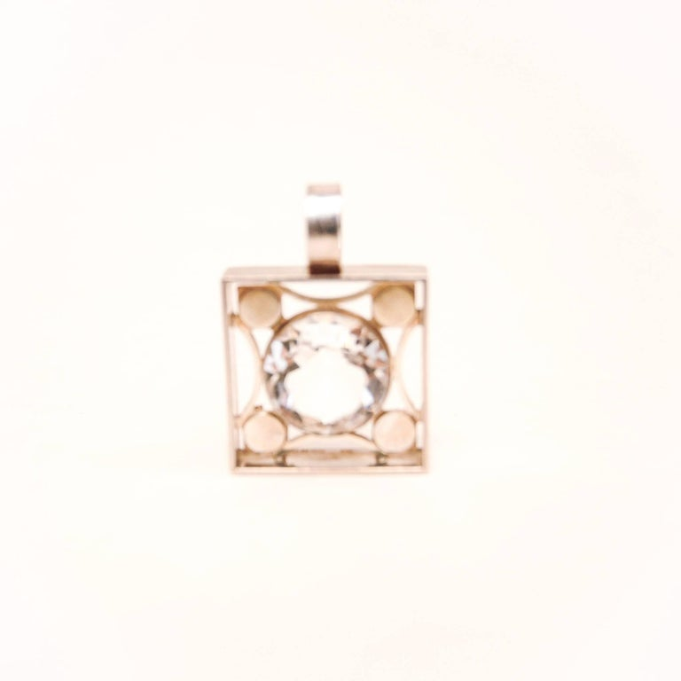 Finnish Silver Jewelry with Brilliant Cut Rock Crystal from 1973 by Salovaara, Finland For Sale