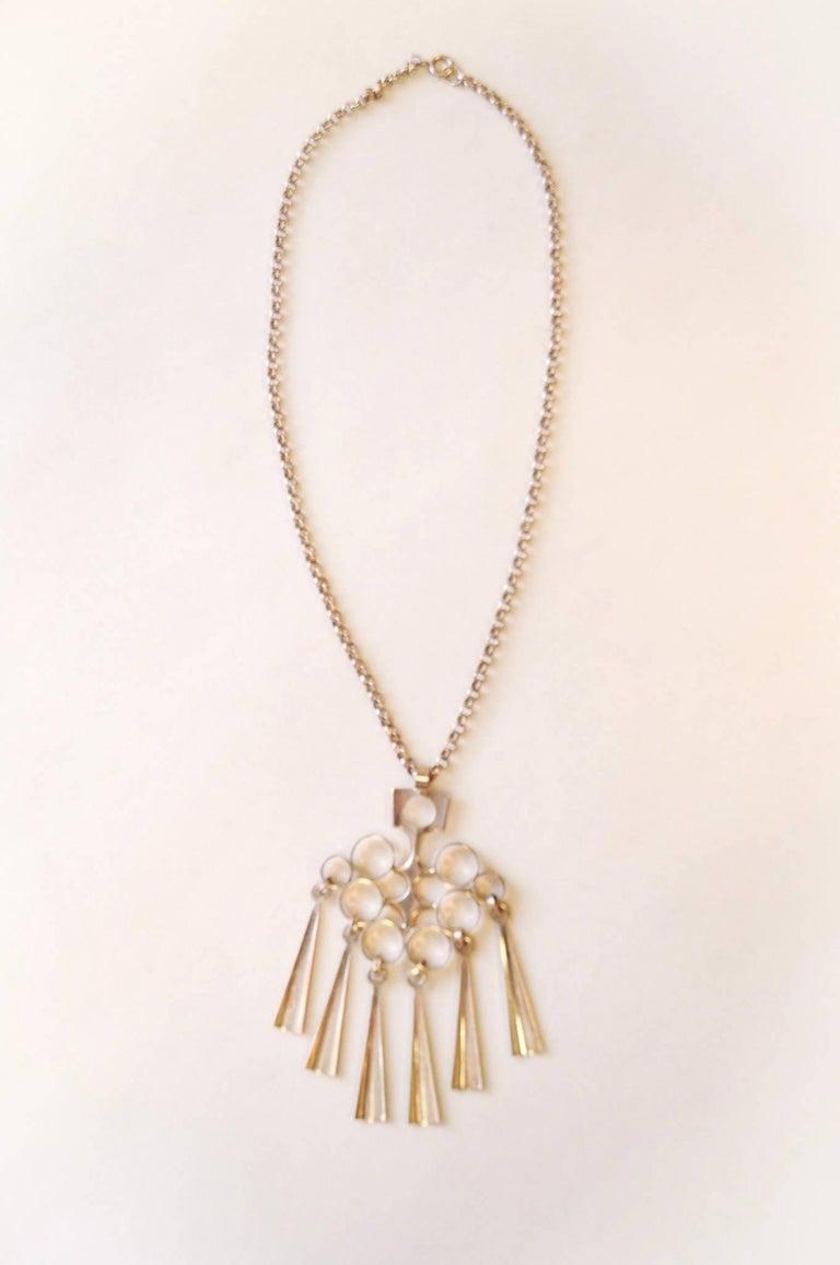 Scandinavian Modern Norwegian Silver Sterling Pendant with necklace by Bjørn Sigurd Østern 1965