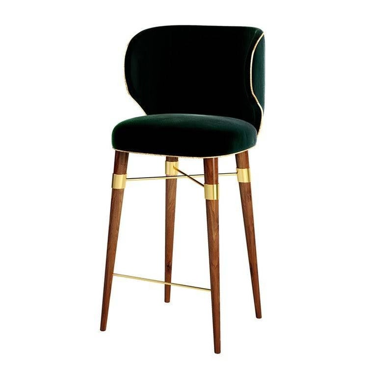 Langston Bar Chair with Walnut Legs and Brass Stretcher For Sale