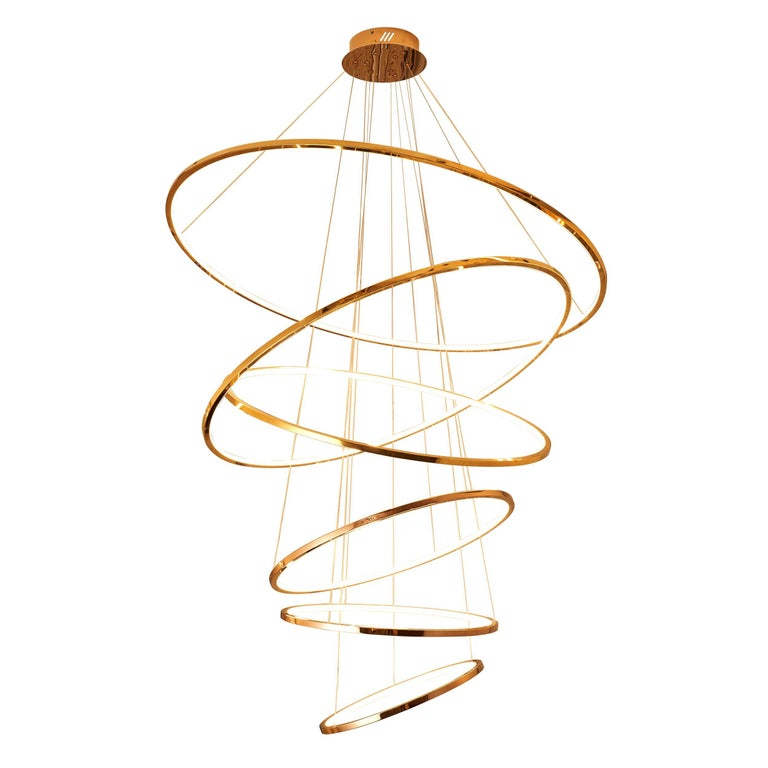 LED Swirl Six Ring Chandelier Pendant Light in Gold Contemporary For Sale