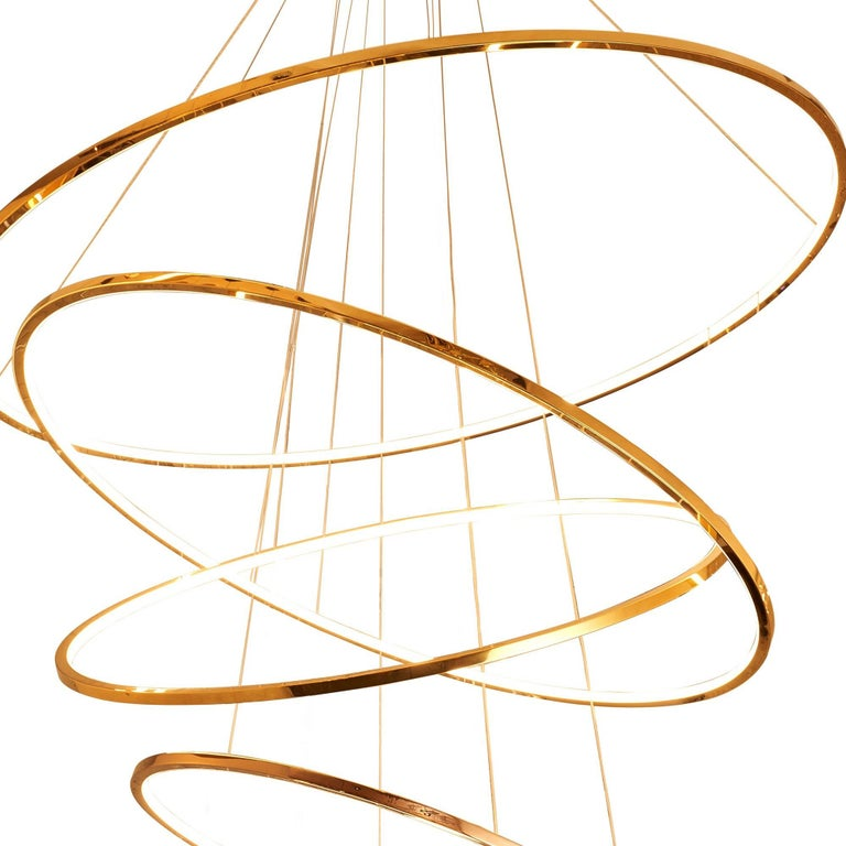 Modern LED Swirl Six Ring Chandelier Pendant Light in Gold Contemporary For Sale