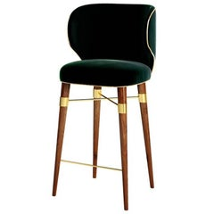 Louis Bar Chair with Walnut Legs and Brass Stretcher