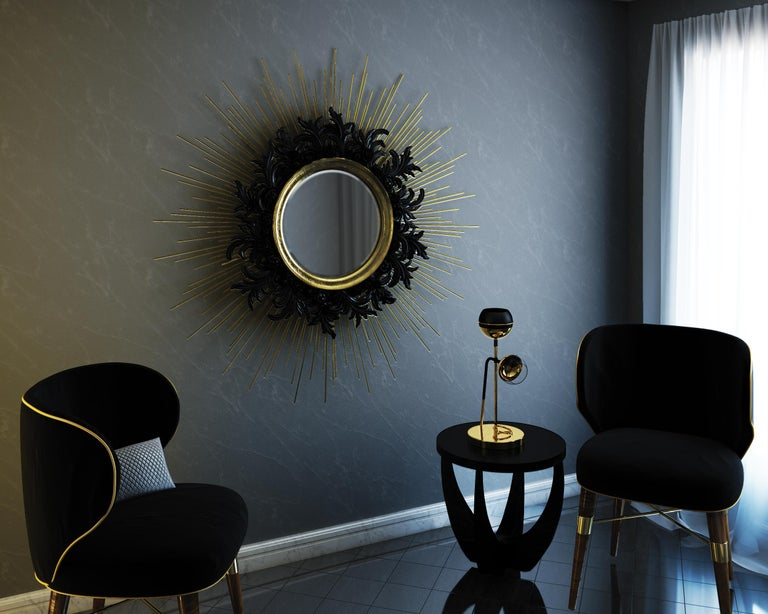Contemporary Gold Sunburst Mirror with Brass and Lacquered Carved Wood In New Condition For Sale In Westport, CT