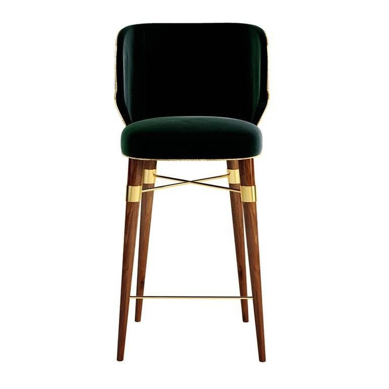 Modern Langston Bar Chair with Walnut Legs and Brass Stretcher For Sale