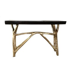 Branch Console in Bronze with Exotic Wood Top Contemporary