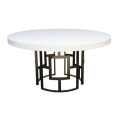 Palm Beach Dining Table with Concrete Top and Metal Base Contemporary