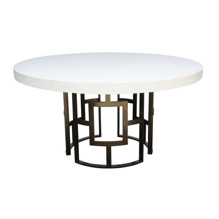 Palm Beach Dining Table With Concrete Top And Metal Base