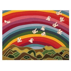 Angela Adams Rainbow Area Rug and Tapestry, One-of-a-Kind, Handcrafted, Modern
