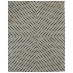 Angela Adams Vibes, Blue and Grey Rug, Geometric, Wool, Handcrafted, Modern