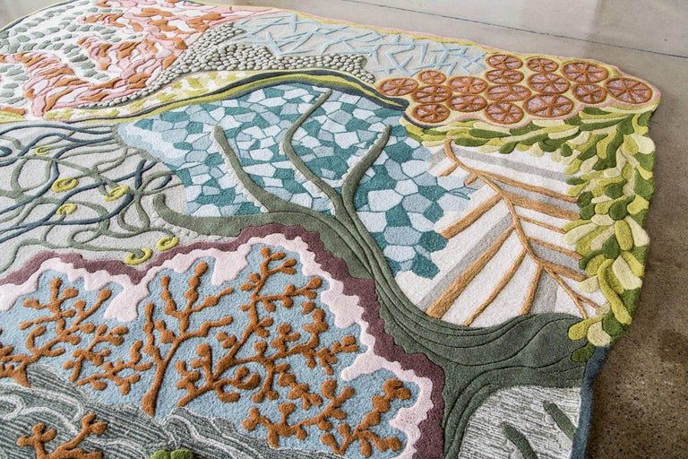 Angela Adams Ocean Floor Area Rug & Tapestry, One-of-a-kind, Handcrafted, Modern In New Condition For Sale In Portland, ME