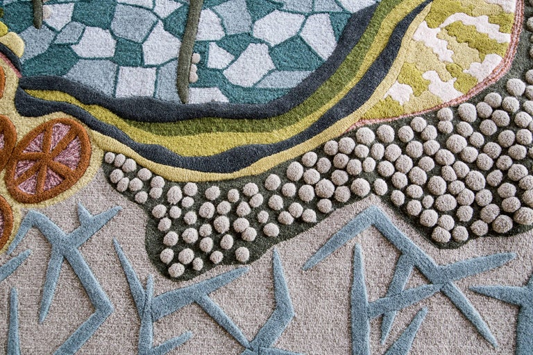 Hand-Crafted Angela Adams Ocean Floor Area Rug & Tapestry, One-of-a-kind, Handcrafted, Modern For Sale