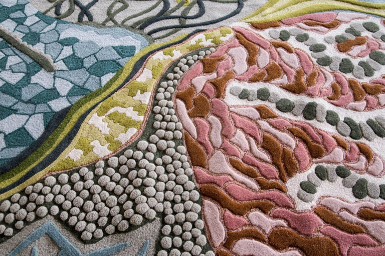 American Angela Adams Ocean Floor Area Rug & Tapestry, One-of-a-kind, Handcrafted, Modern For Sale