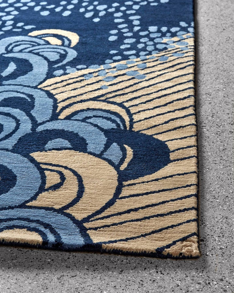Angela Adams Sea Cave Blue Rug 100 New Zealand Wool