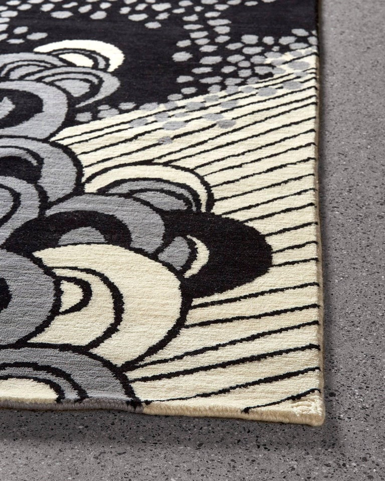 Indian Angela Adams Sea Cave, Black Rug, 100% New Zealand Wool, Hand-Knotted, Modern For Sale