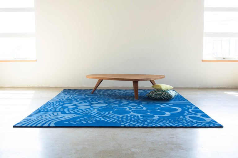 Indian Angela Adams Glacier, Blue Area Rug, 100% New Zealand Wool, Hand-Knotted, Modern For Sale