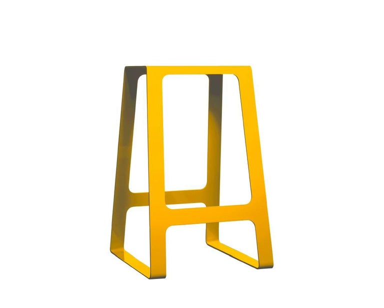 A_Stool Powder Coated Aluminum Counter Height in Signal White by Jonathan Nesci For Sale 1