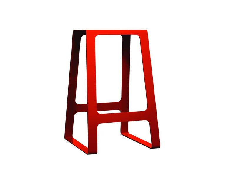 A_Stool Powder Coated Aluminum Counter Height in Signal White by Jonathan Nesci For Sale 2