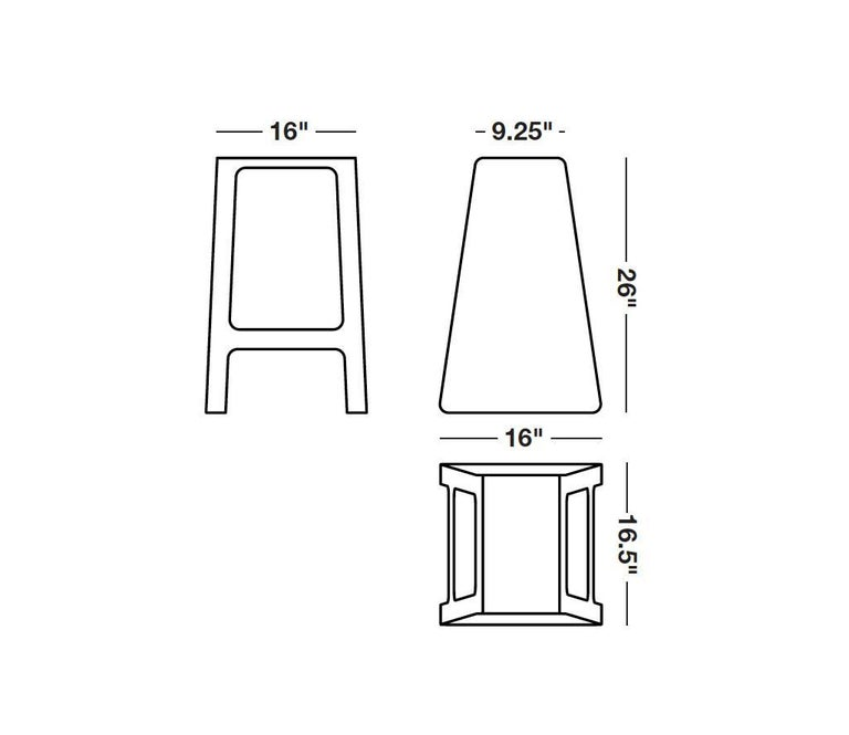 Contemporary A_Stool in counter height stool in powder-coated aluminum. A minimal, backless design in durable powder-coated aluminum. Also available in brushed, sanded, or polished finish. Signed, dated and numbered to the underside with a
