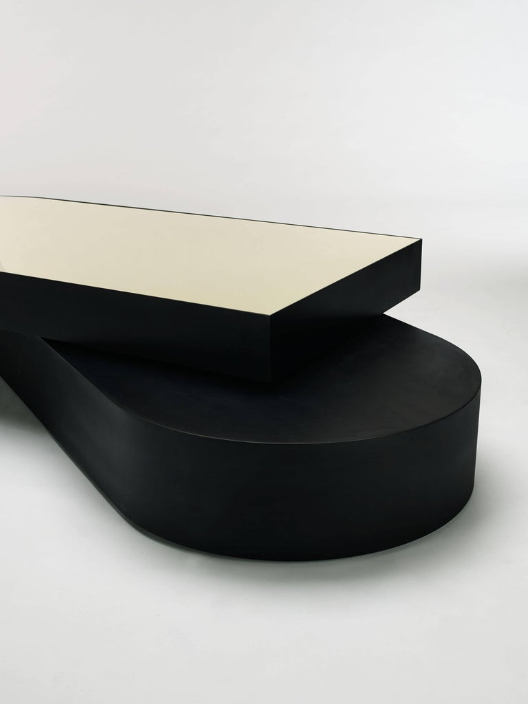 Minimalist Columbus Coffee Table in Blackened Aluminum and Polished Brass by Jonathan Nesci For Sale