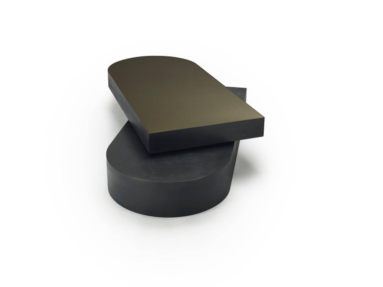 American Columbus Coffee Table in Blackened Aluminum and Polished Brass by Jonathan Nesci For Sale