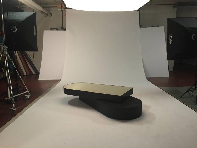 Other Columbus Coffee Table in Blackened Aluminum and Polished Brass by Jonathan Nesci For Sale