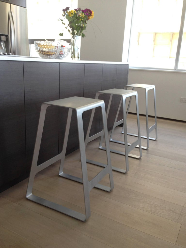 American A_Stool Powder Coated Aluminum Counter Height in Signal Blue by Jonathan Nesci For Sale