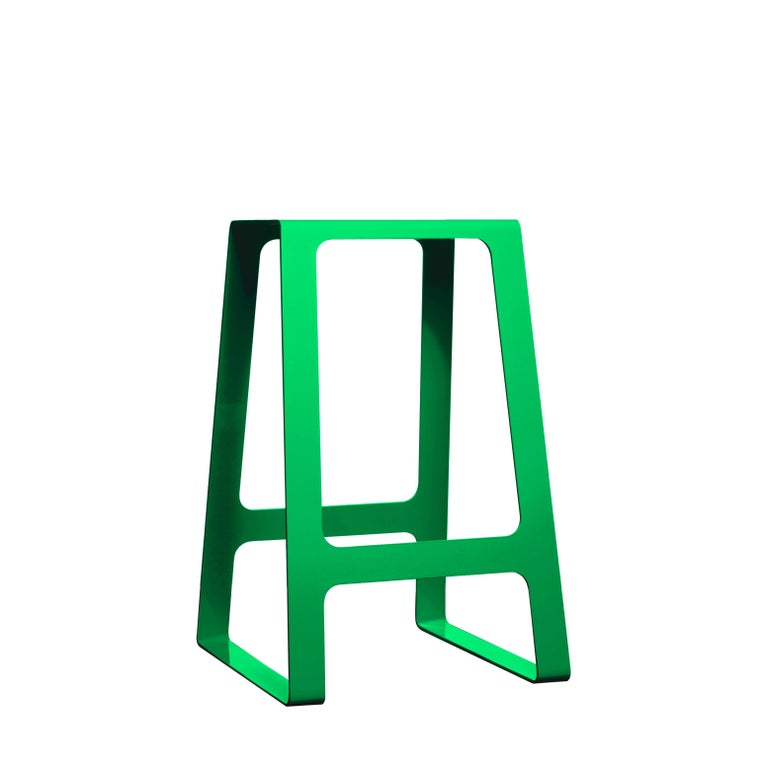 Contemporary A_Stool Powder Coated Aluminum Counter Height in Signal Blue by Jonathan Nesci For Sale