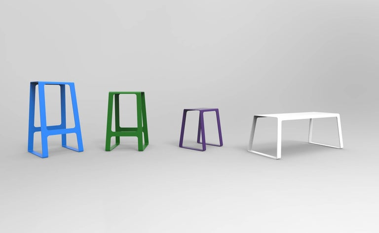 A_Stool Powder Coated Aluminum Counter Height in Signal Blue by Jonathan Nesci For Sale 3