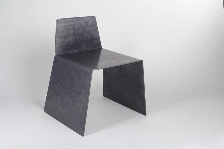 Minimalist Steel Side Chair in Hot-Dipped Galvanized Steel by Jonathan Nesci For Sale