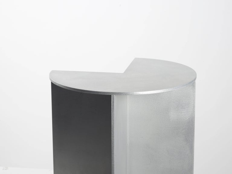 Minimalist 3-Quarter Side Table in Waxed Aluminum Plate by Jonathan Nesci For Sale